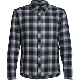 """Icebreaker M's Helix LS Shirt Black/Gritstone HTHR/Plaid"""